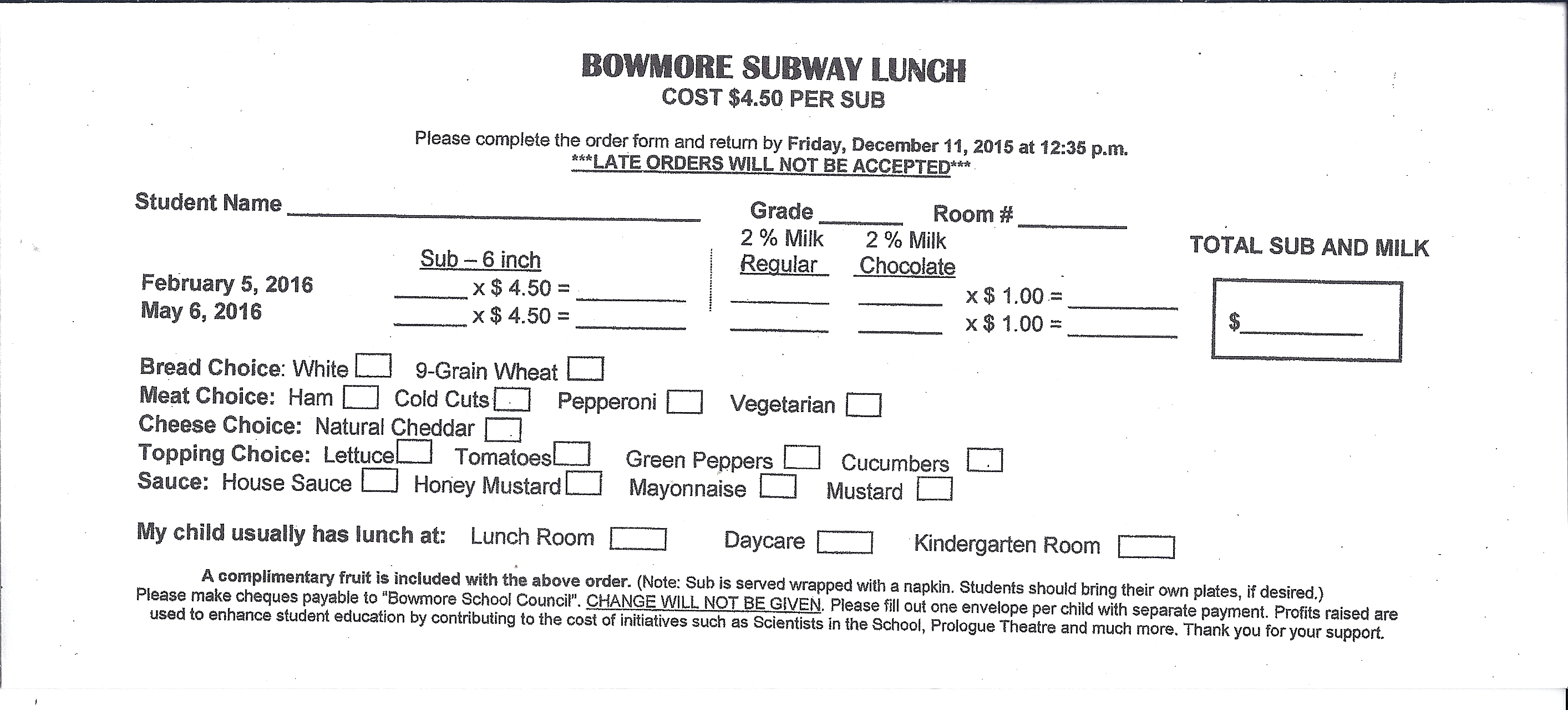 Subway Lunch – cannot accept late orders – due Fri Jan 22 ...