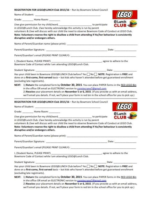 LEGO Club Registration Form