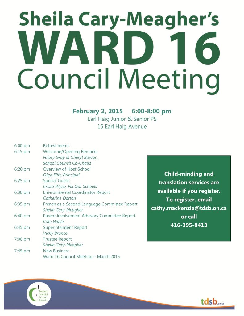 SCM February 2, 2015 Ward Council Meeting Flyer