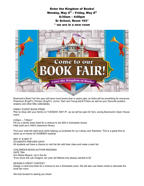 Bowmore Book Fair Letter