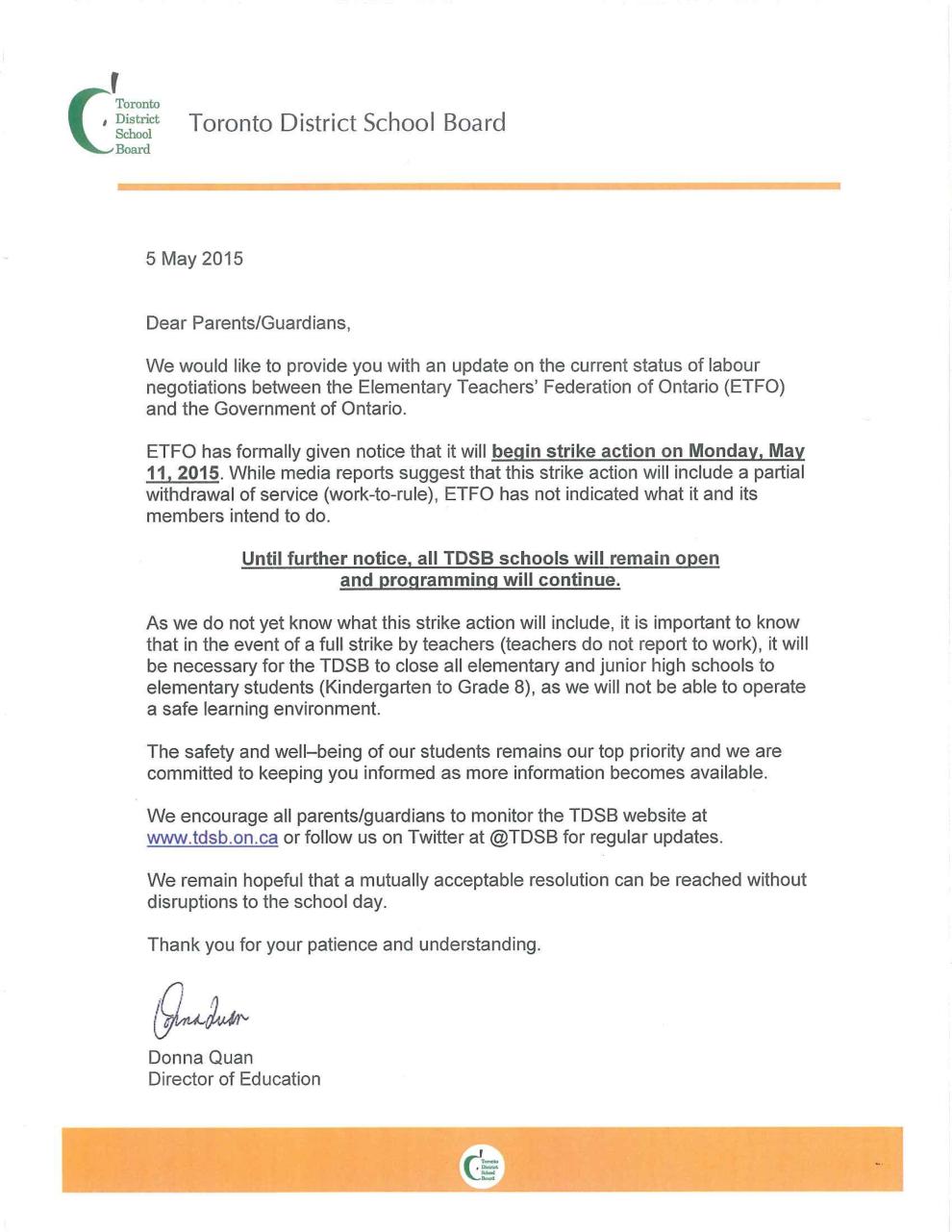 ETFO Parent Letter Strike page 1