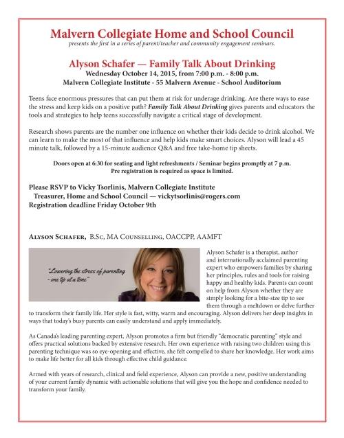 Free Parent Workshop at Malvern CI hosted by Alyson Schafer