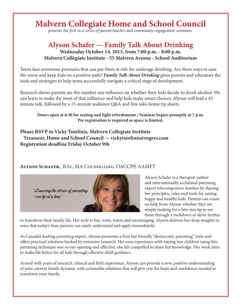 Free Parent Workshop at Malvern CI hosted by Alyson Schafer