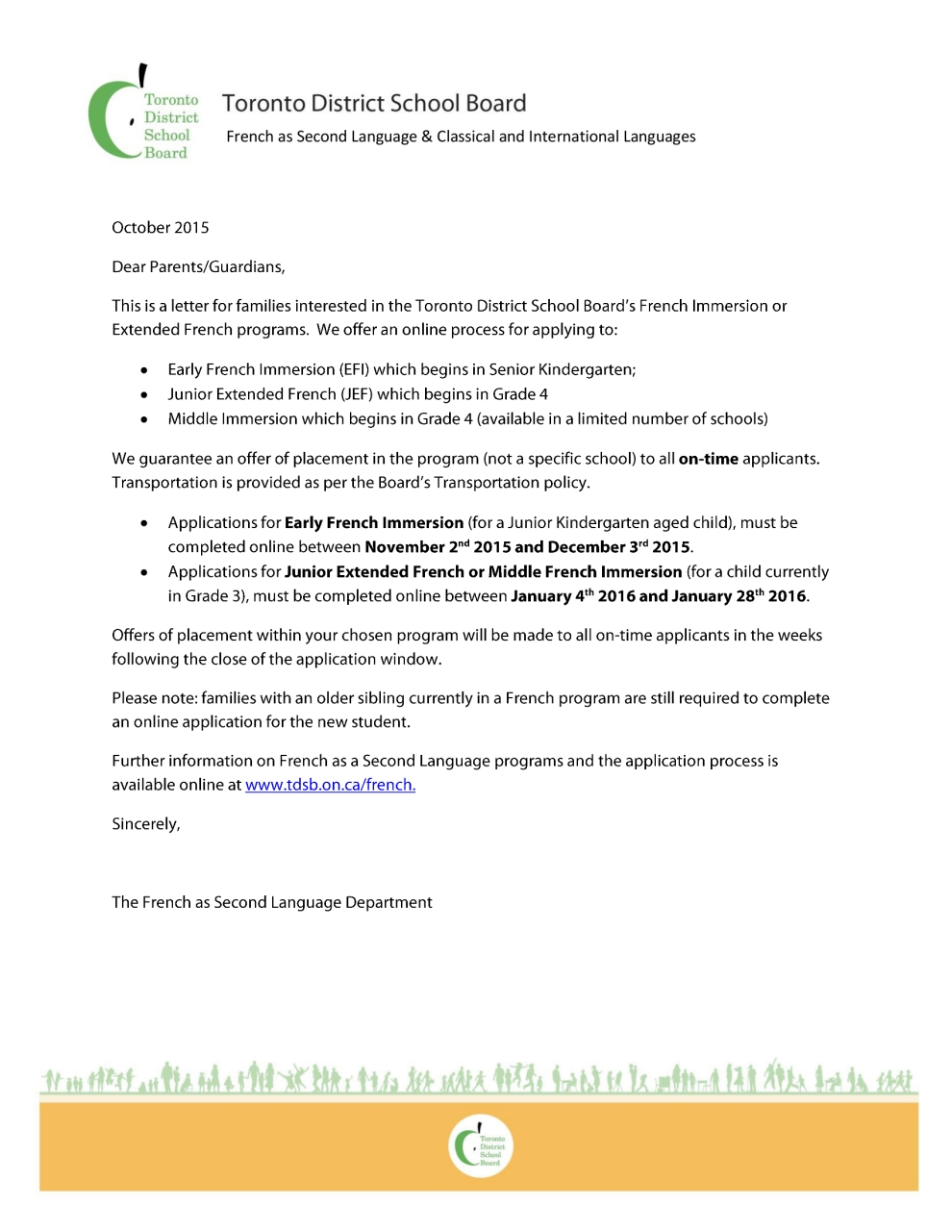 French Immersion Letter to parents Timelines 2015