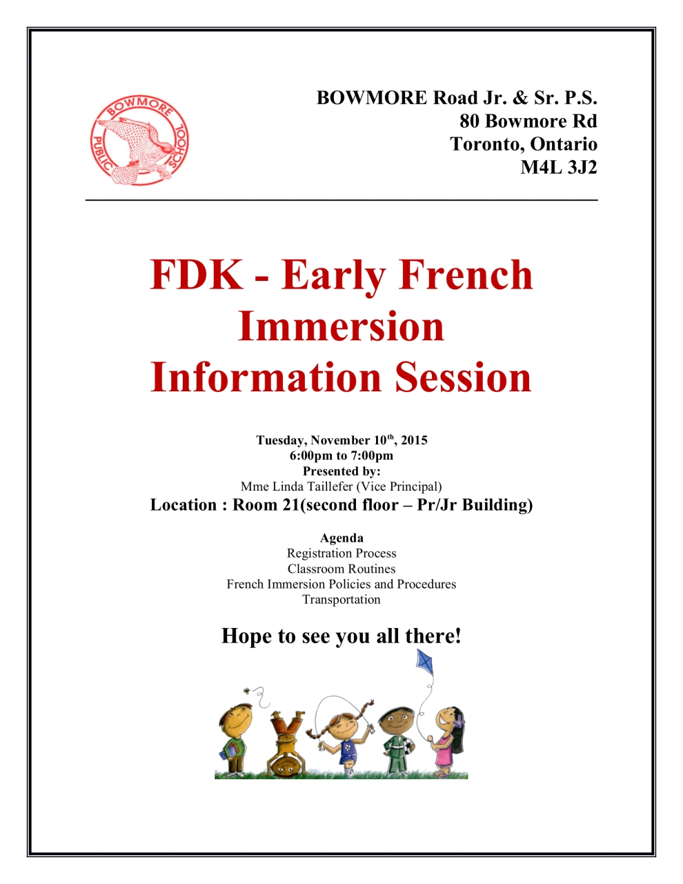 French Immersion Flyer for Information night - Flyer BOWMORE Road Jr-v2