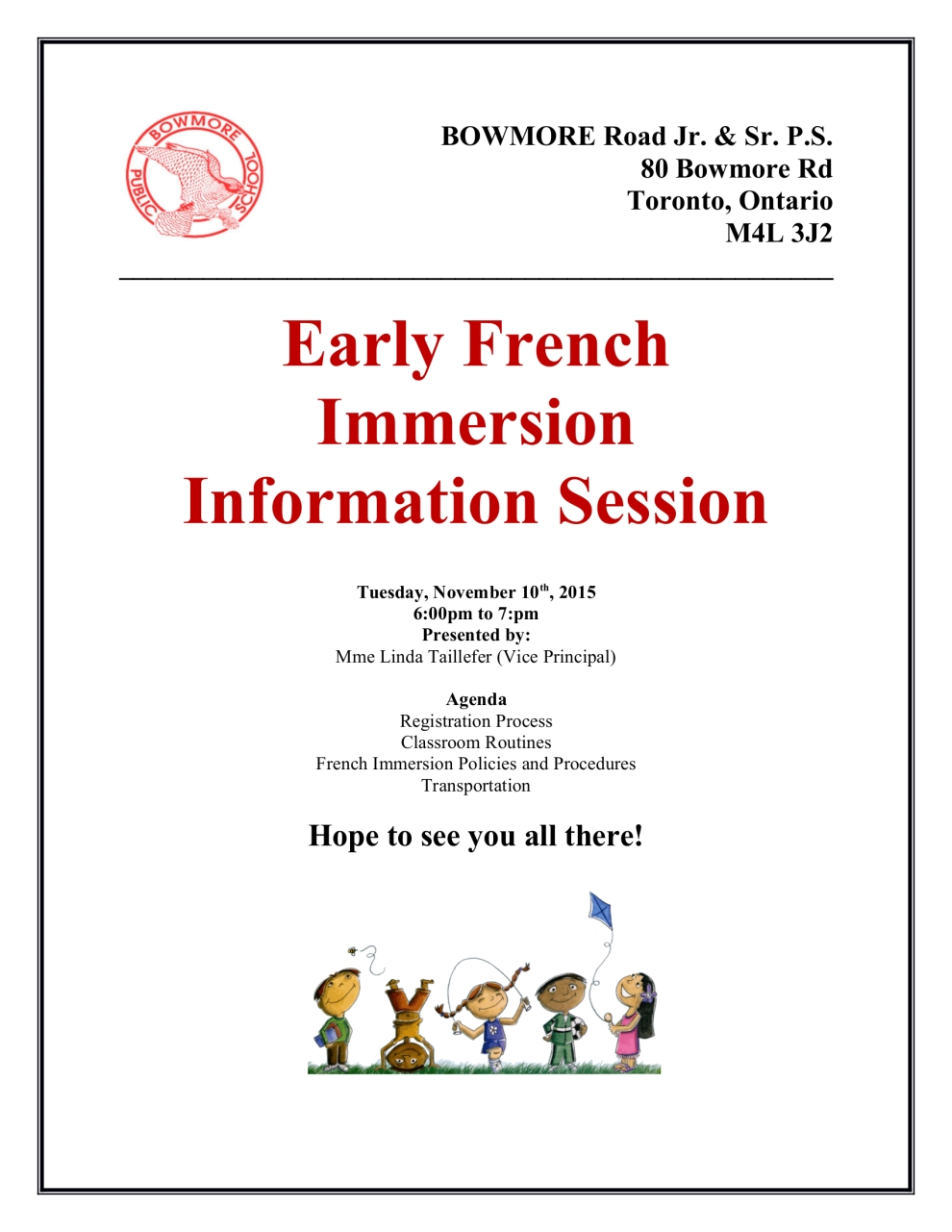 French Immersion Flyer for Information night - Flyer BOWMORE Road Jr