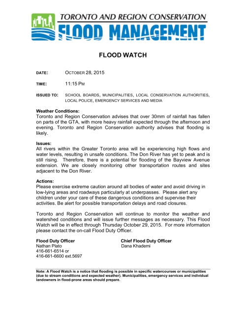 Flood Officer's Office has issued a flood watch