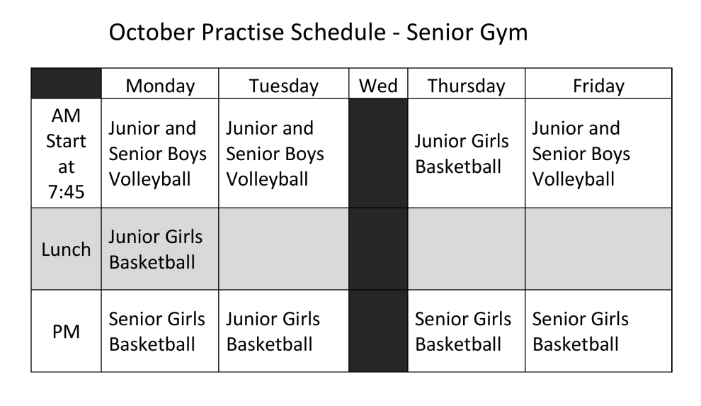 October Practise Schedule