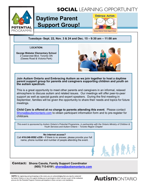 Autism Ontario Parent Support Group Fall 2015 - English
