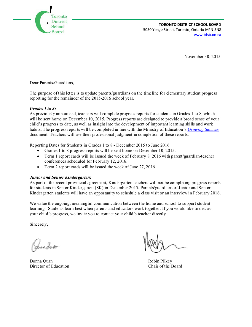 Parent Letter Nov 30, 2015 - Progress Reporting