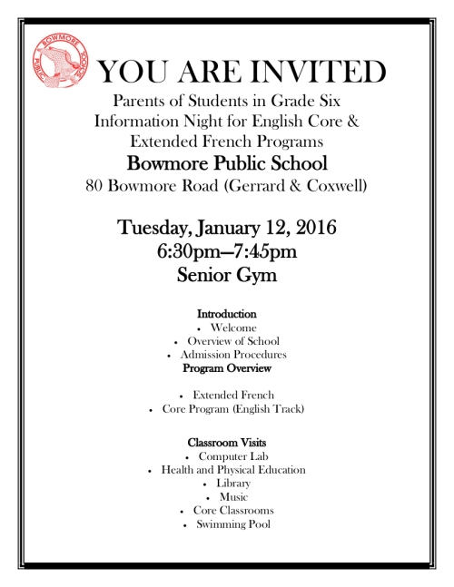 Information Night 2016 January 12 for English Core and Extended French program