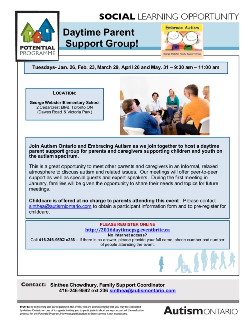 TOR - Parent Support Group winter 2016