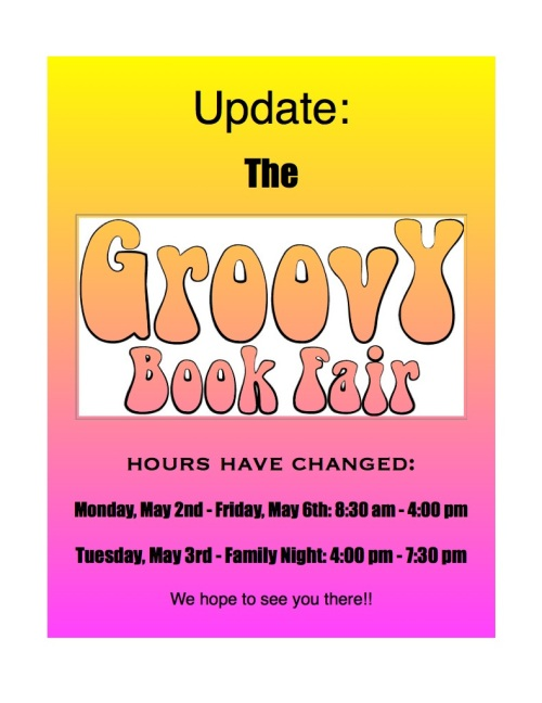 Hours have changed: Monday May 2 to Friday May 6 from 8:30 AM to 4:00 PM. Tuesday May 3 (Family Night): 4:00PM to 7:30 PM