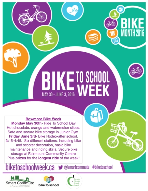 Bike to School Week 2016 - event poster - TDSB