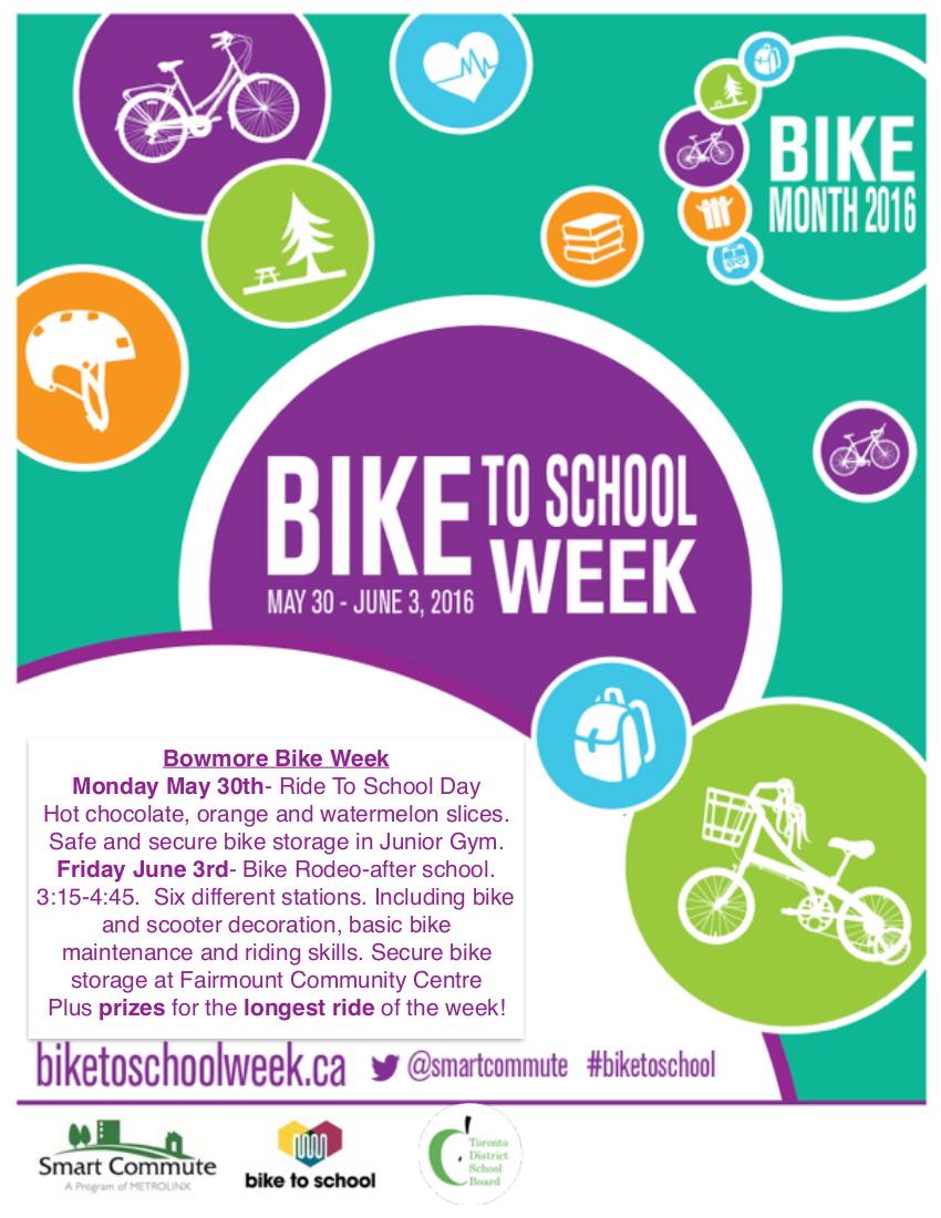 Bike to School Week 2016 - event poster - TDSB