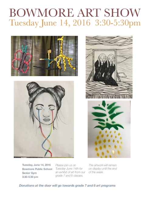 The school is putting together a 7 and 8 art show on Tuesday June 14th from 3:30 to 5:30 in the senior gym. The art will be on display during the Lion King performances so parents attending the musical can look at the art before the show. Parents not going to Lion King can come view the art Tuesday after school from 3:30 to 5:30. The artwork will remain on display Wednesday and Thursday as well, so teachers can bring their classes anytime those days for a viewing.
