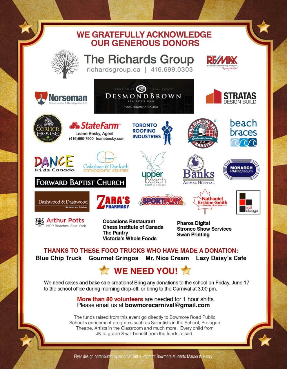 Bowmore Carnival 2016 sponsors