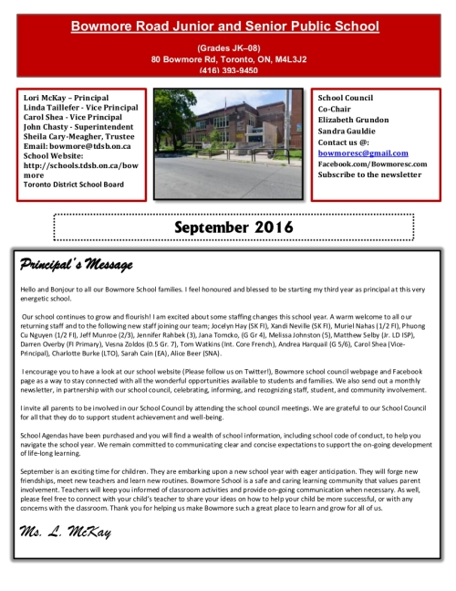 Download the First Day of School newsletter by clicking on this image.