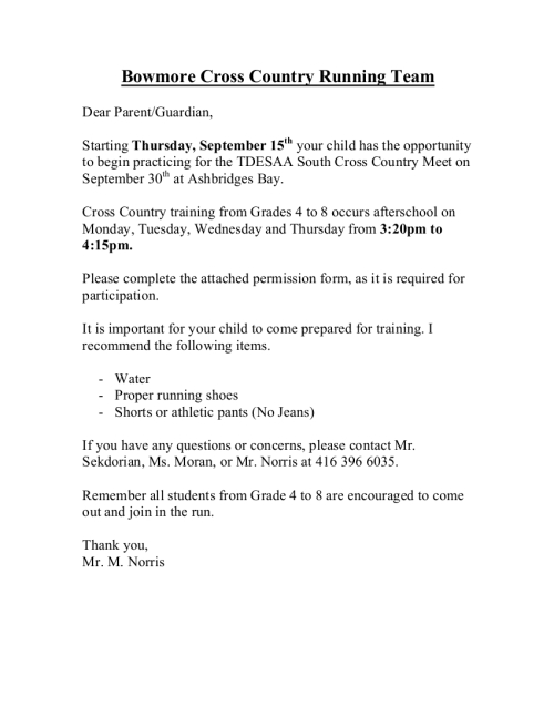 Cross country letter and permission form bowmore school council cross country letter altavistaventures Images