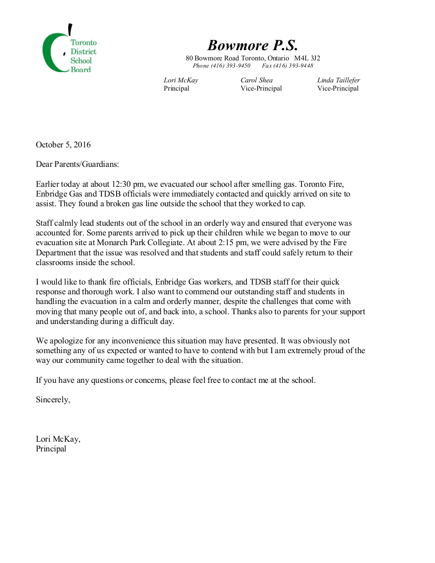 principal s letter about the gas leak bowmore school council