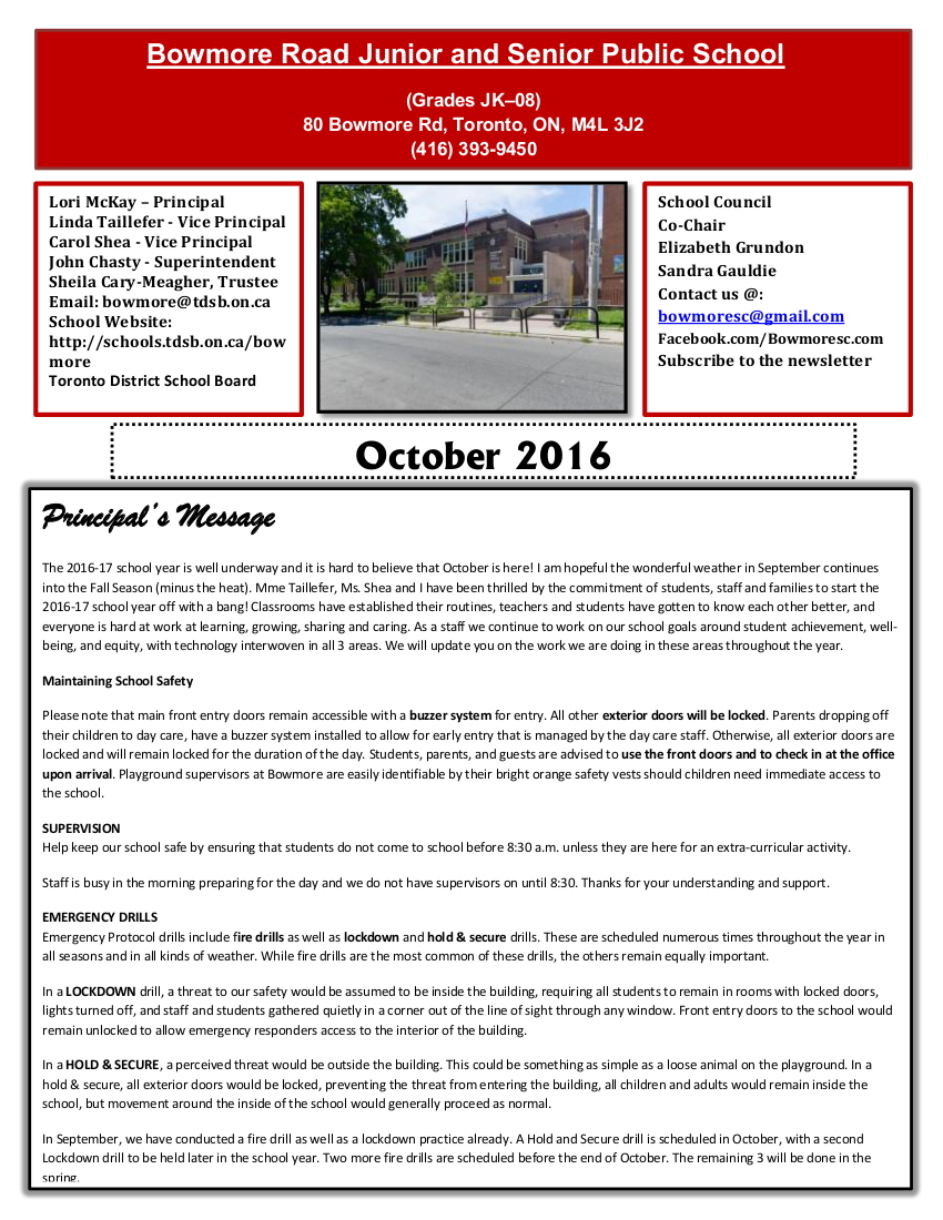 Bowmore October 2016 newsletter