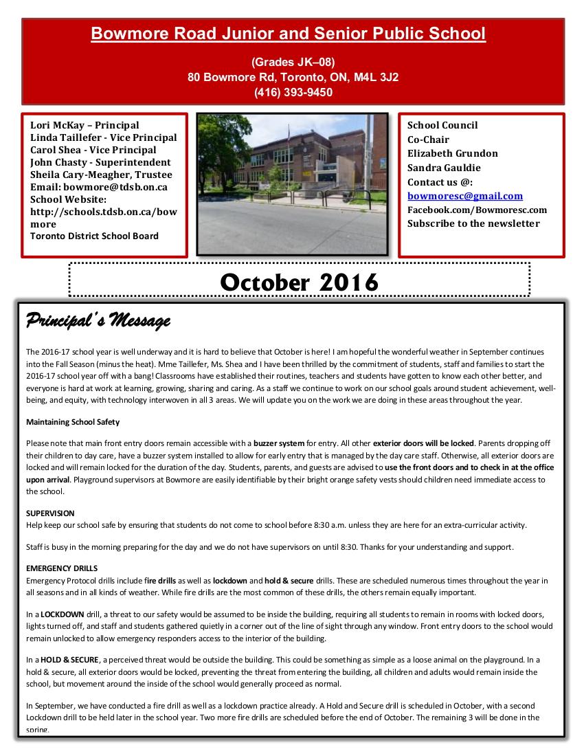 Bowmore October 2016 newsletter