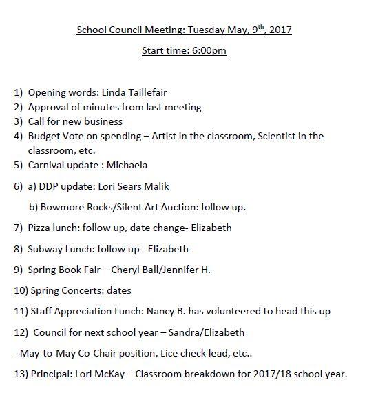 May 2017 Agenda
