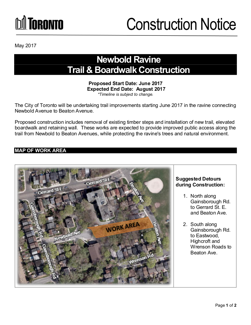 Newbold Ravine Trail Upgrades page 1
