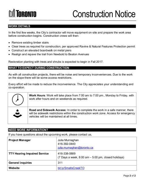 Newbold Ravine Trail Upgrades page 1