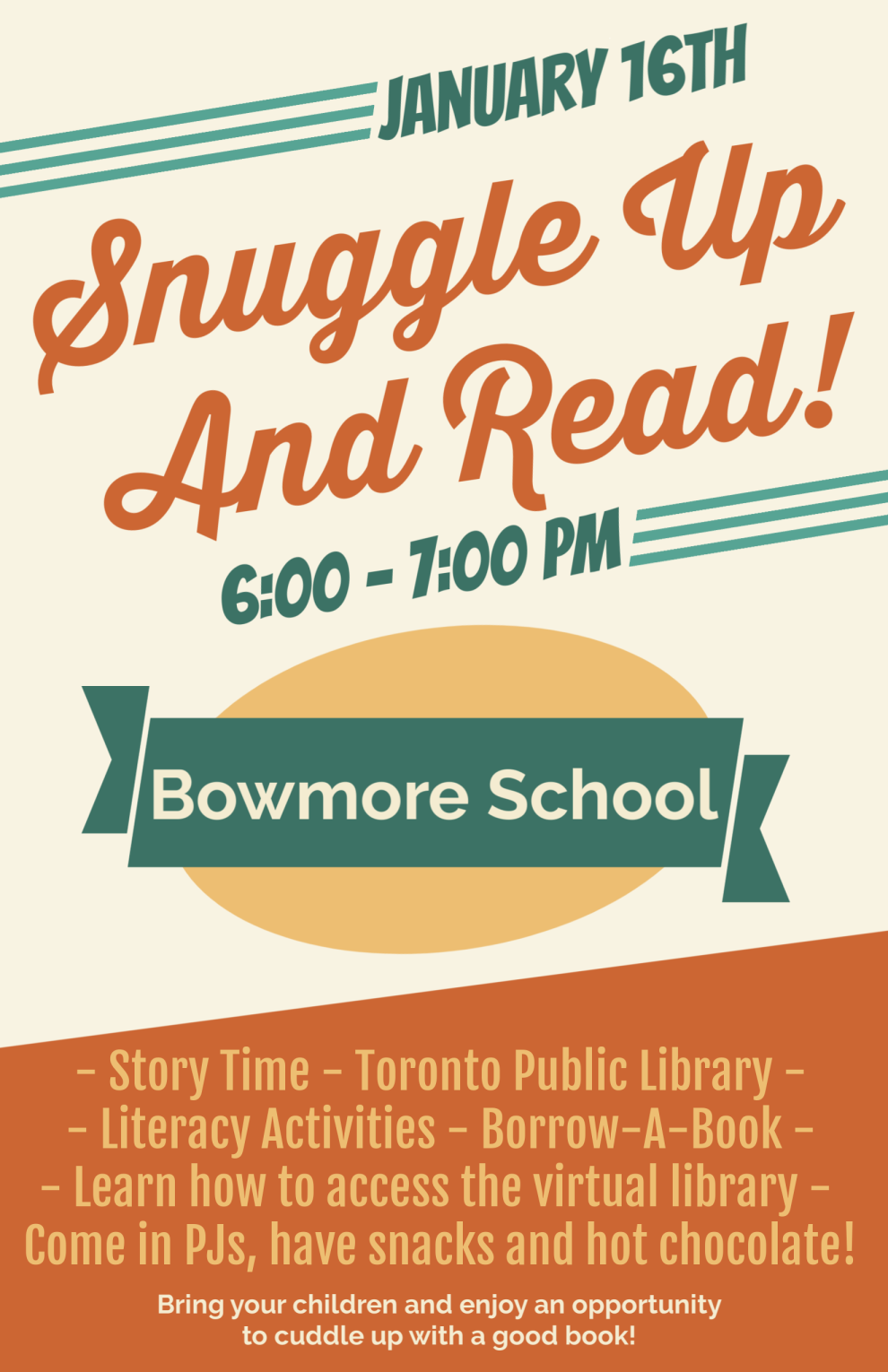 snuggle up and read flyer